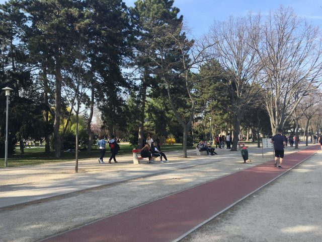 a park, people on benches, runners, people walking